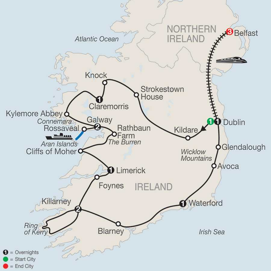 Emerald Isle with Belfast map