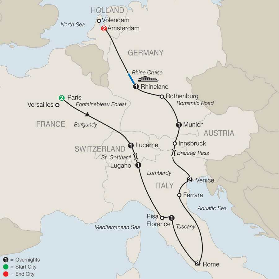 Tour Of France Italy Germany More Globus - Pisa bus map