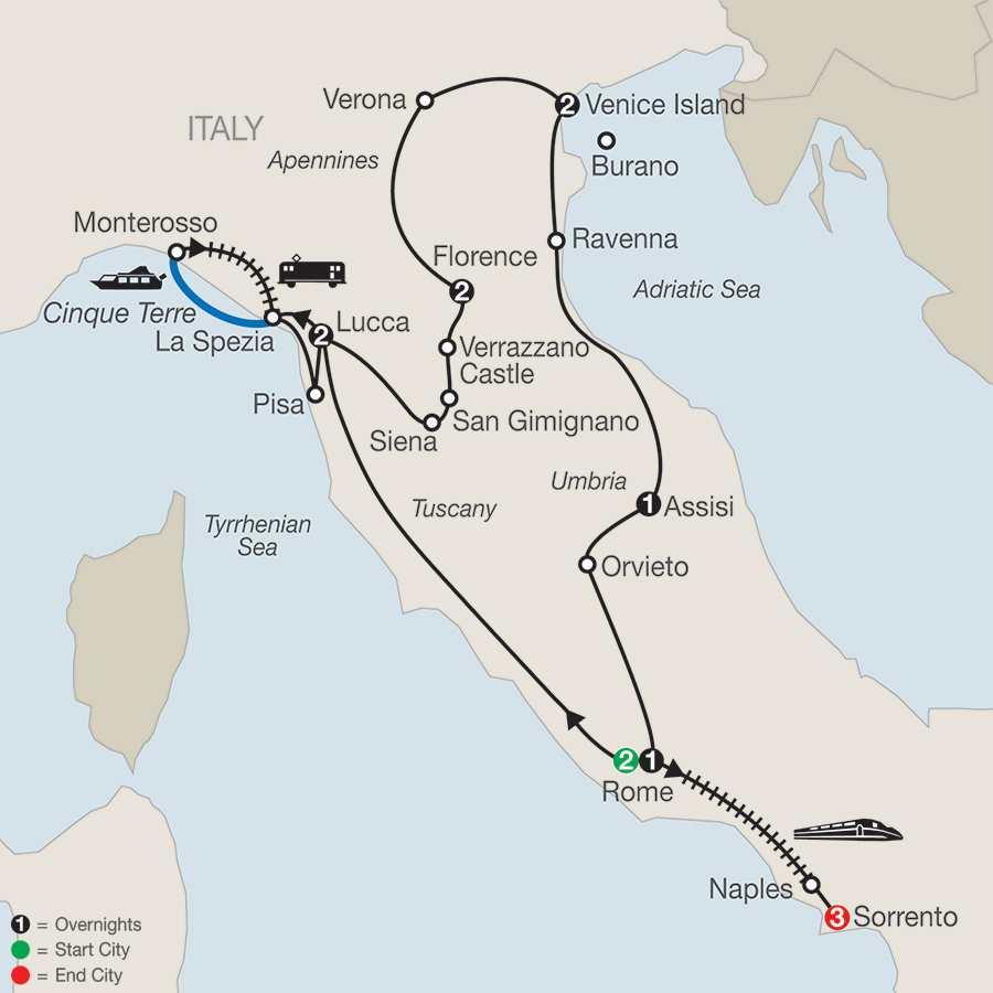 Italian Treasures with Sorrento map