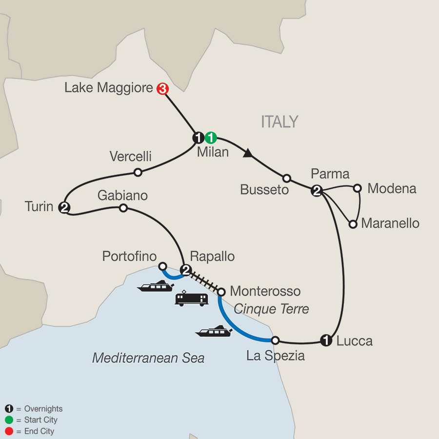 Northern Italy's Highlights & Cinque Terre with Lake Maggiore map