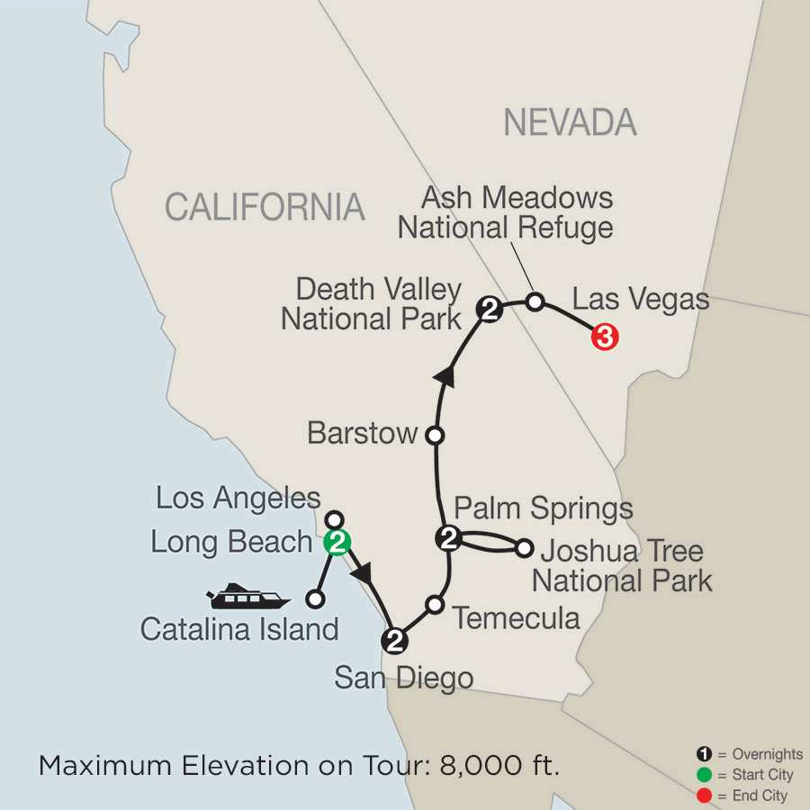 Southern California with Death Valley & Joshua Tree National Parks with Extended Stay in Las Vegas map