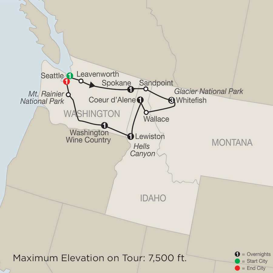 Discover Glacier National Park, Hells Canyon & Washington Wine Country map