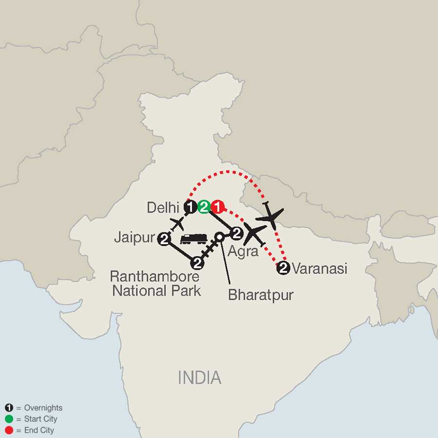 Icons of India: The Taj, Tigers & Beyond with Varanasi map