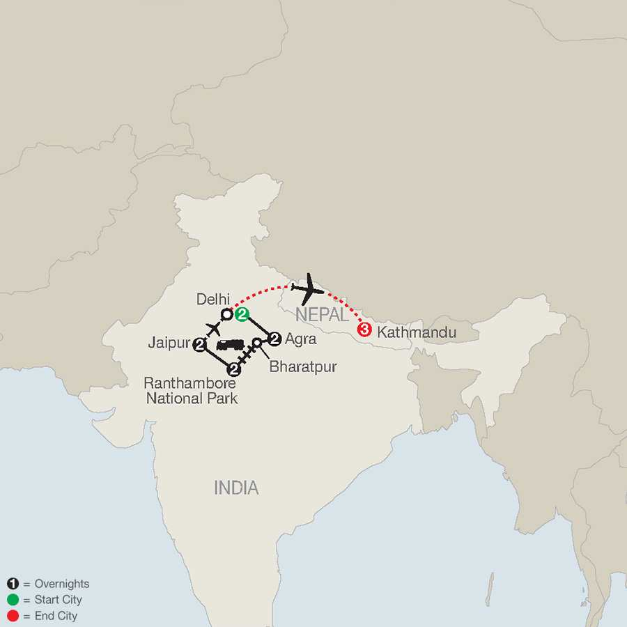 Icons of India: The Taj, Tigers & Beyond with Nepal map