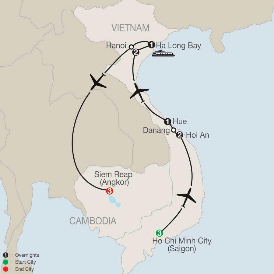 Exploring Vietnam & Cambodia map