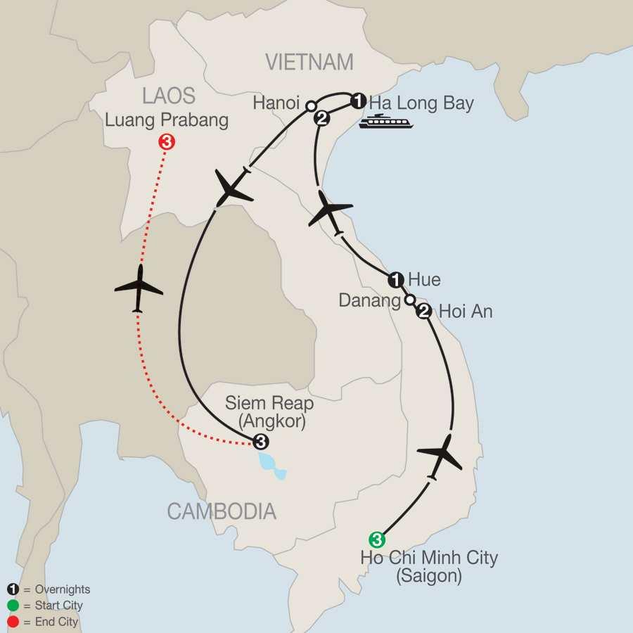 Exploring Vietnam & Cambodia with Luang Prabang map