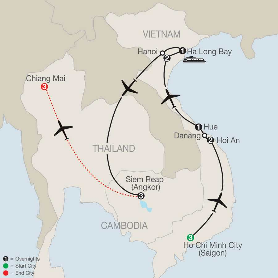 Exploring Vietnam & Cambodia with Chiang Mai map