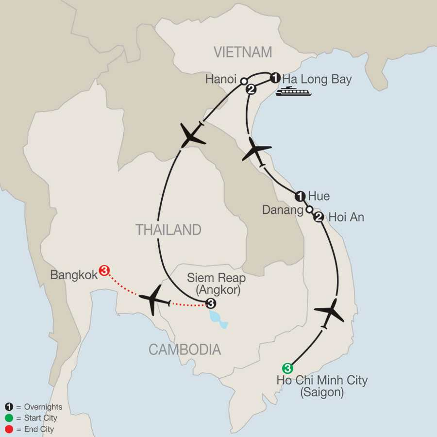 Exploring Vietnam & Cambodia with Bangkok map