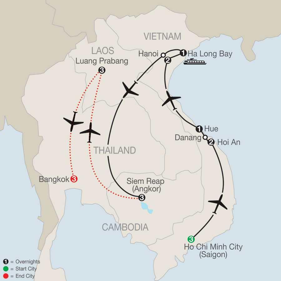 Exploring Vietnam & Cambodia with Luang Prabang & Bangkok map