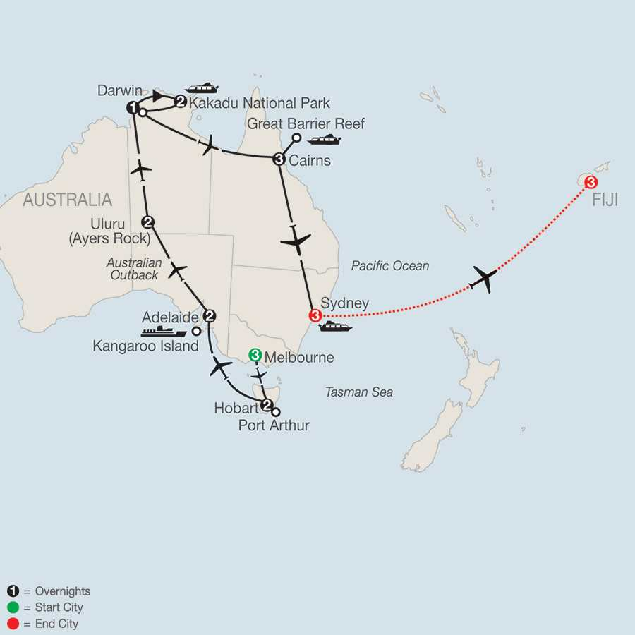 Australia Adventure with Fiji map