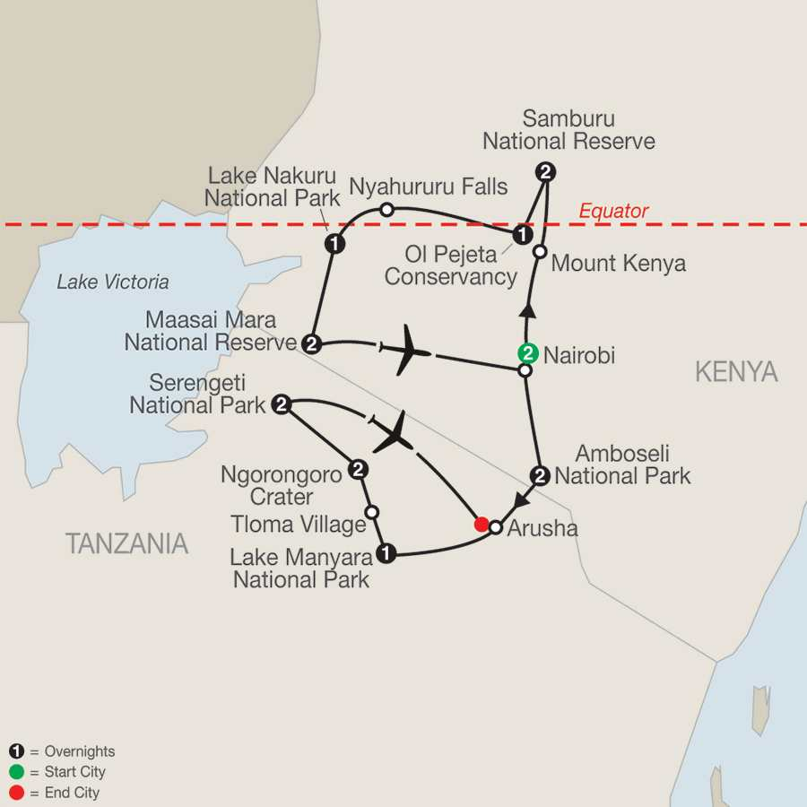 Kenya & Tanzania: The Safari Experience with Nairobi map
