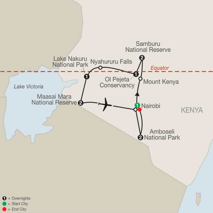 Kenya: A Timeless Safari map