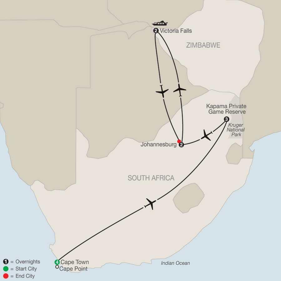MAP Splendors of South Africa Victoria Falls 2017