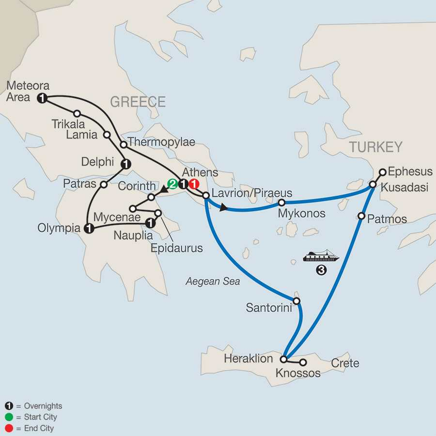 Classical Greece with Iconic Aegean 3-Night Cruise map