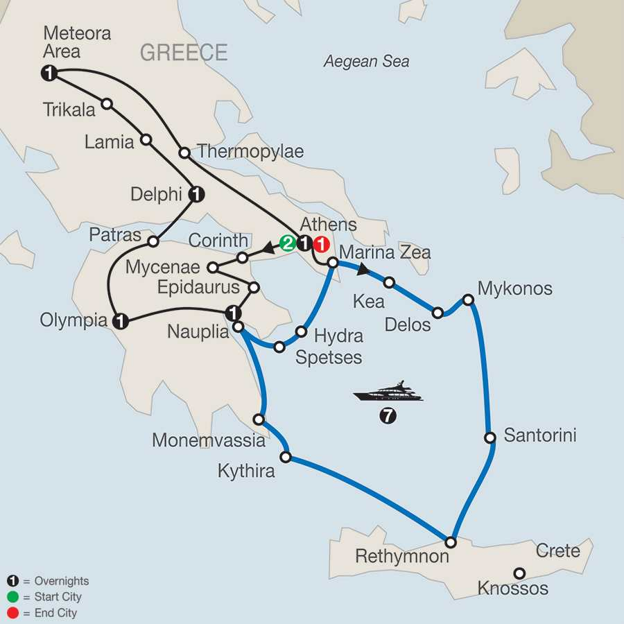 Classical Greece with Continental Odyssey 7-Night Cruise map