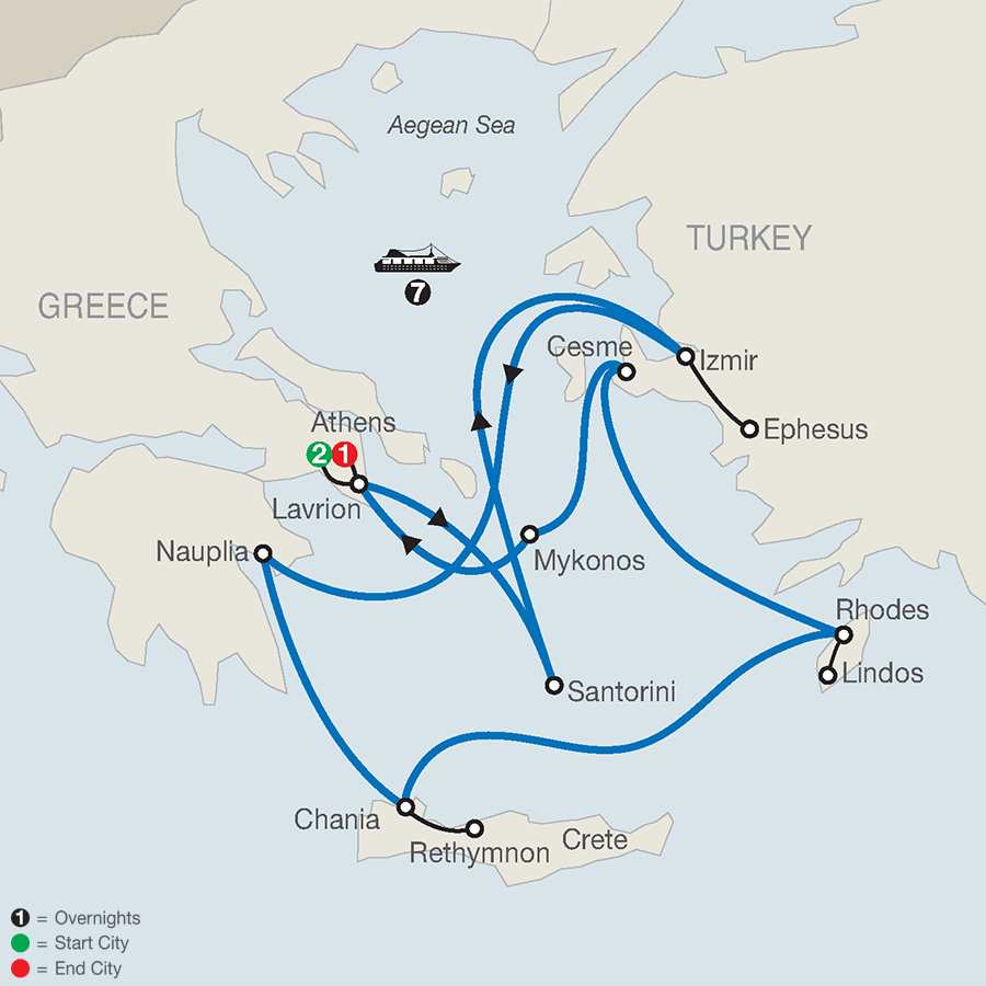 Euphoric Aegean with 7-Night Cruise map