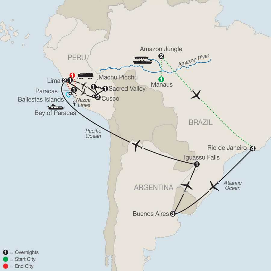 Spirit of South America with Amazon & Nazca Lines map