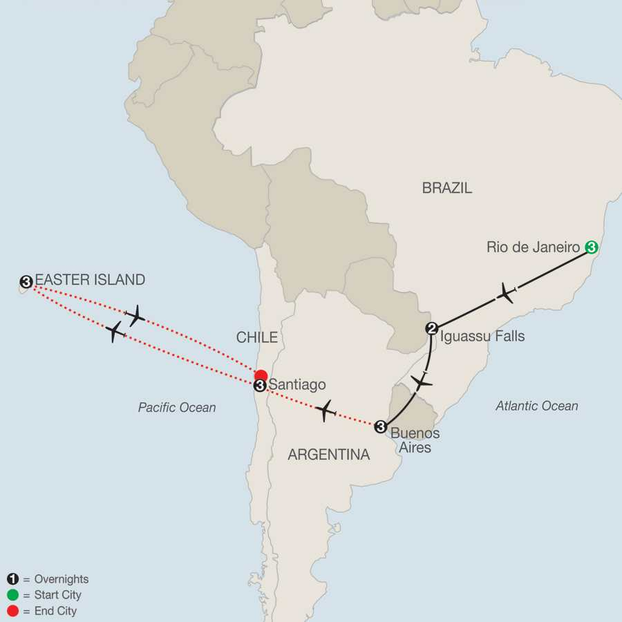 South American Escape with Santiago & Easter Island map