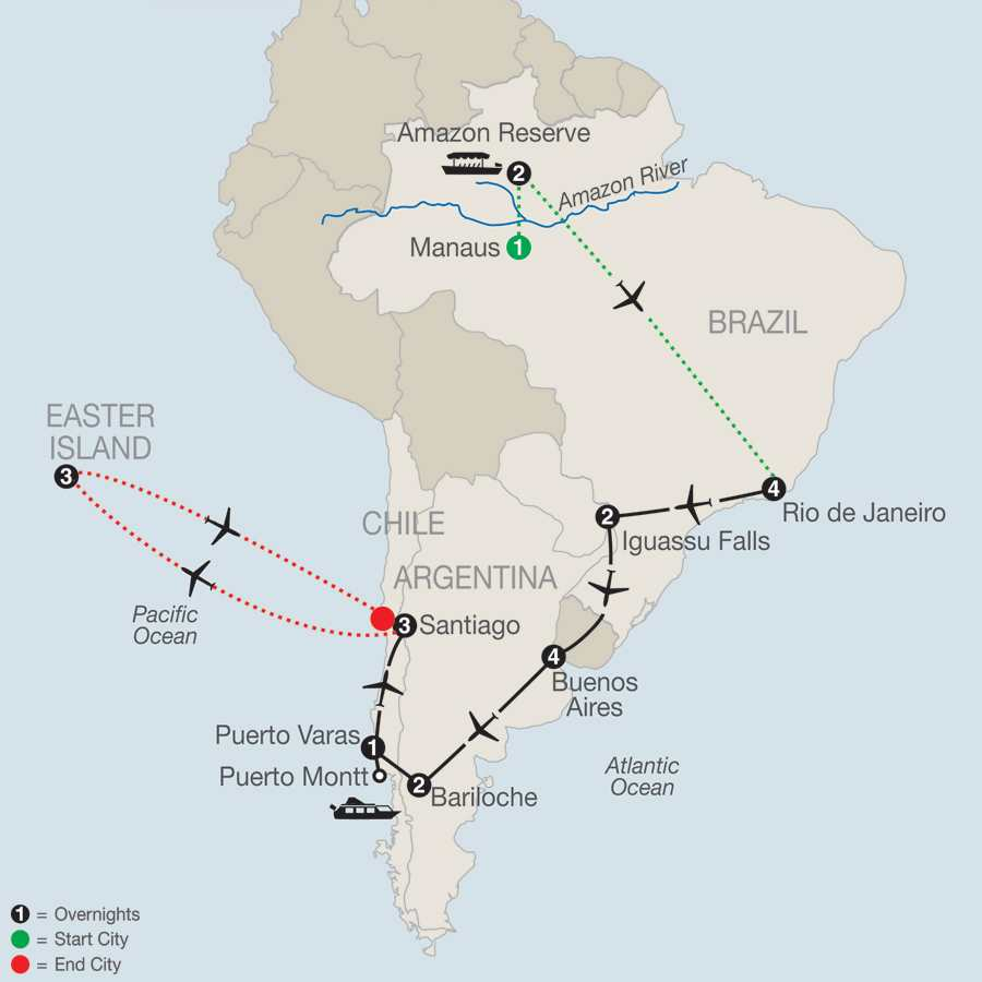 South American Odyssey with Amazon & Easter Island map