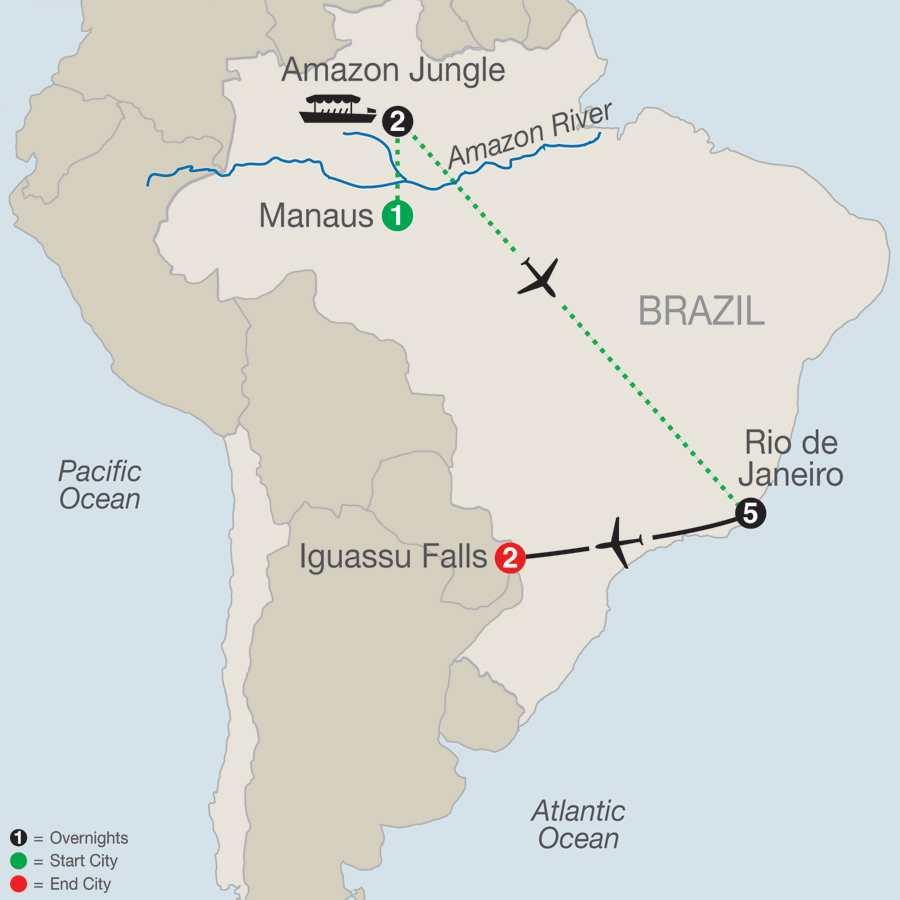 Brazilian Getaway with Brazil's Amazon map