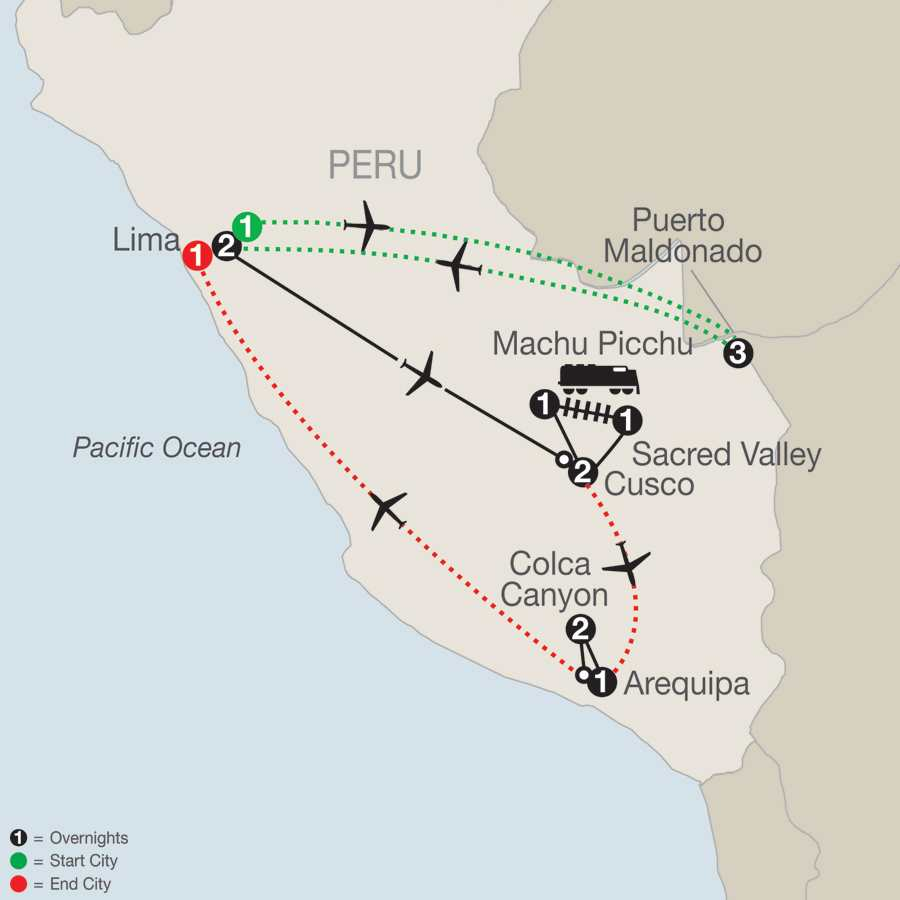Peru Splendors with Peru's Amazon, Arequipa & Colca Canyon map