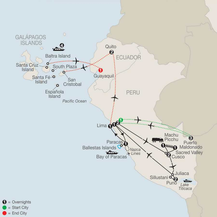 Legacy of the Incas with Peru's Amazon & Galápagos Cruise map