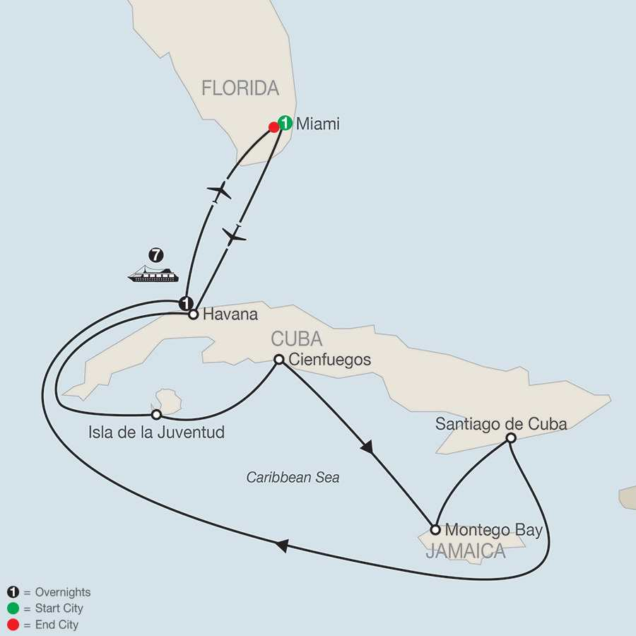 Cuba by Land & Sea map