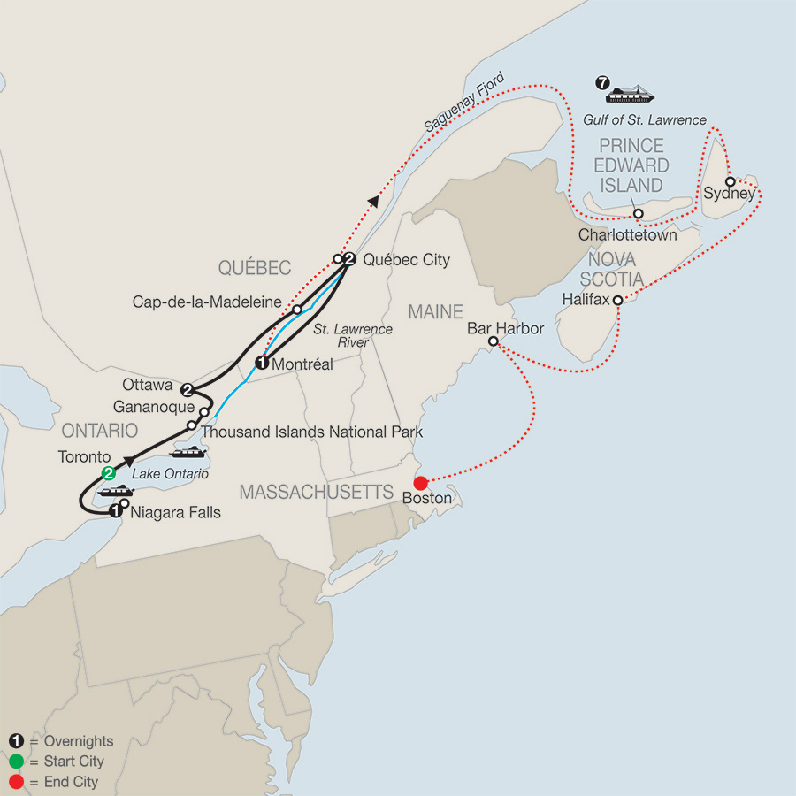 historic cities of eastern canada with canada new england discovery cruise map