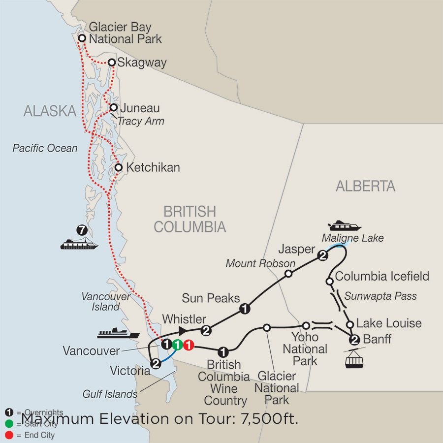 Grand Western Canada Vacation with Alaska Cruise map