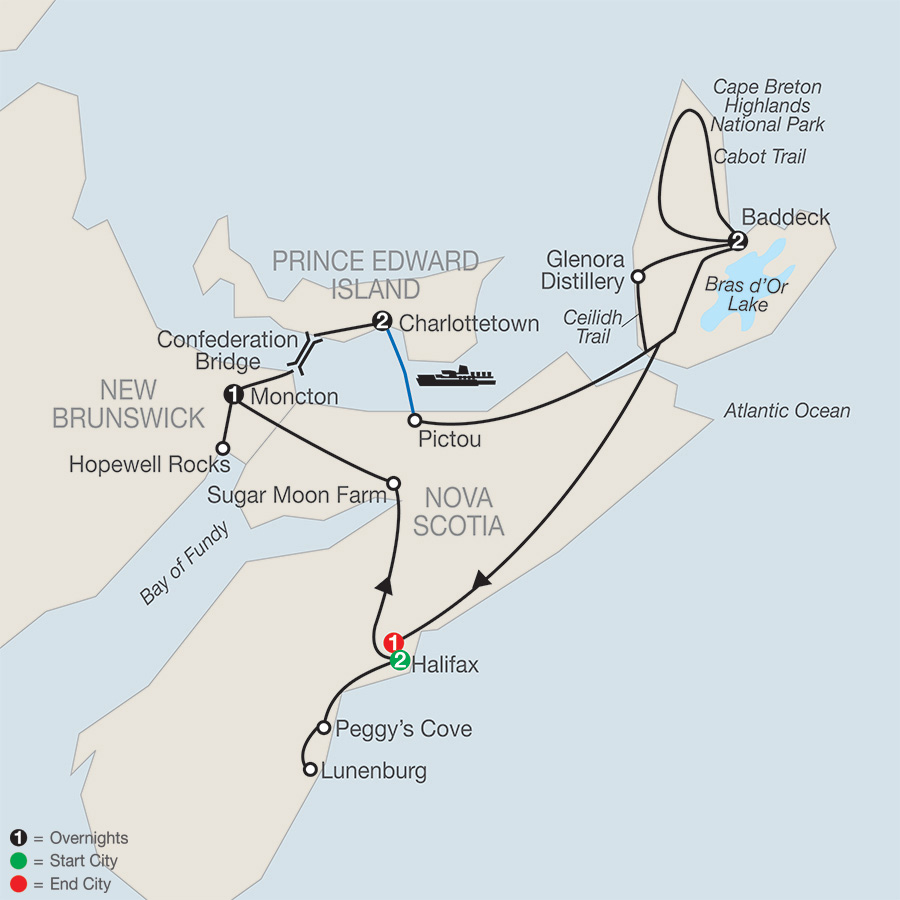 Wonders of the Maritimes & Scenic Cape Breton map