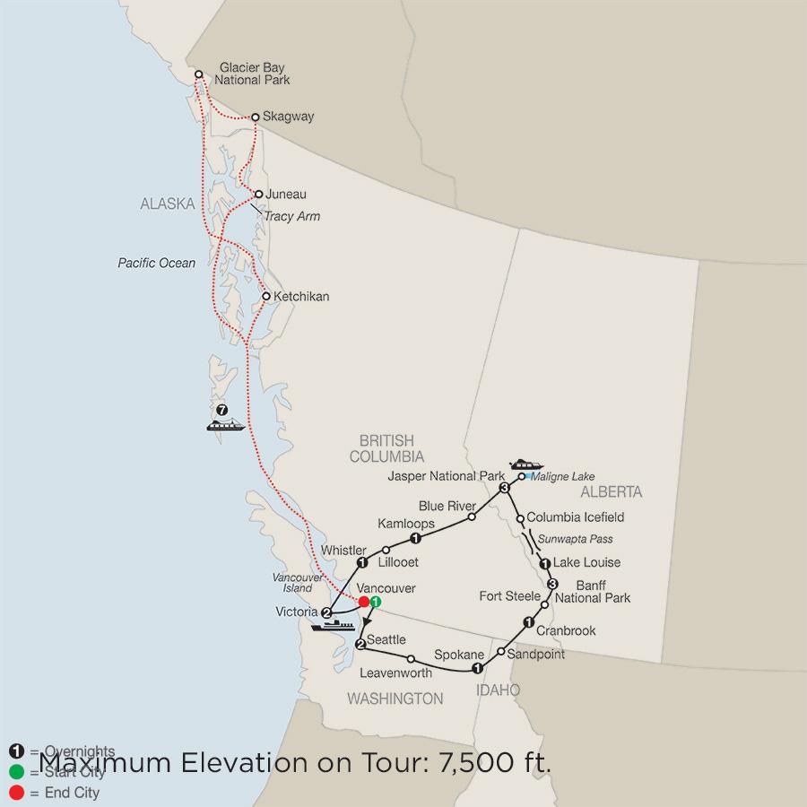 Western Canada Explorer with Alaska Cruise map