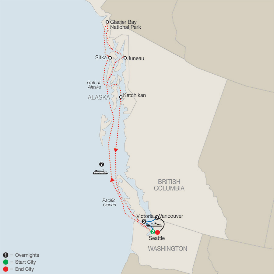Seattle, Victoria & Vancouver with Alaska Cruise map