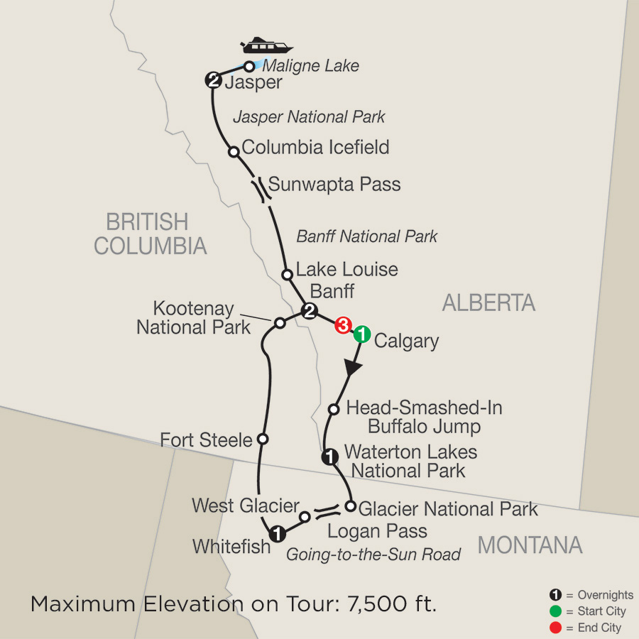 Glacier National Park & the Canadian Rockies with the Calgary Stampede map