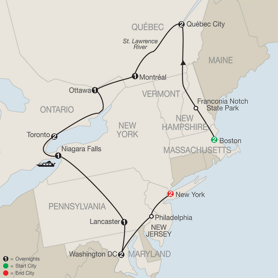 Eastern Canada US Escorted Tours Globus - Eastern us and canada map