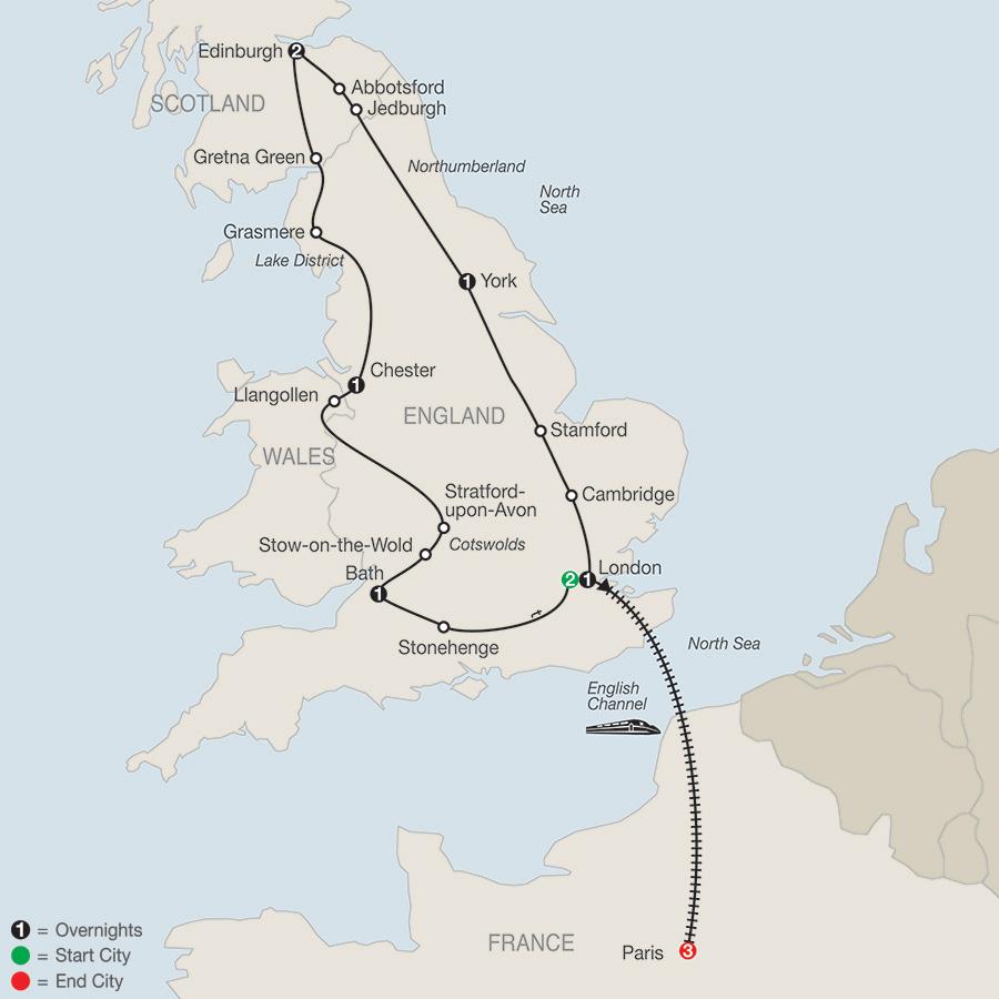 Britain Sampler with Paris map