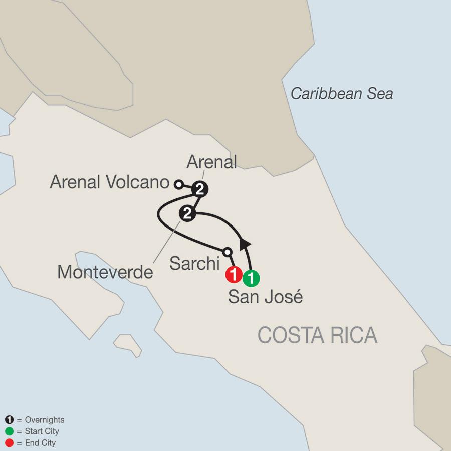 Costa Rica Escape map