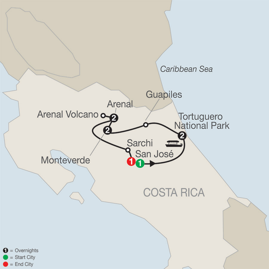 Costa Rica Escape With Tortuguero map