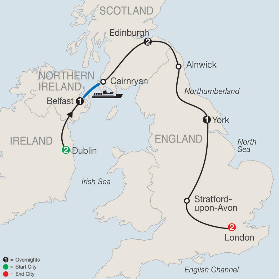 Ireland & Britain Escape map