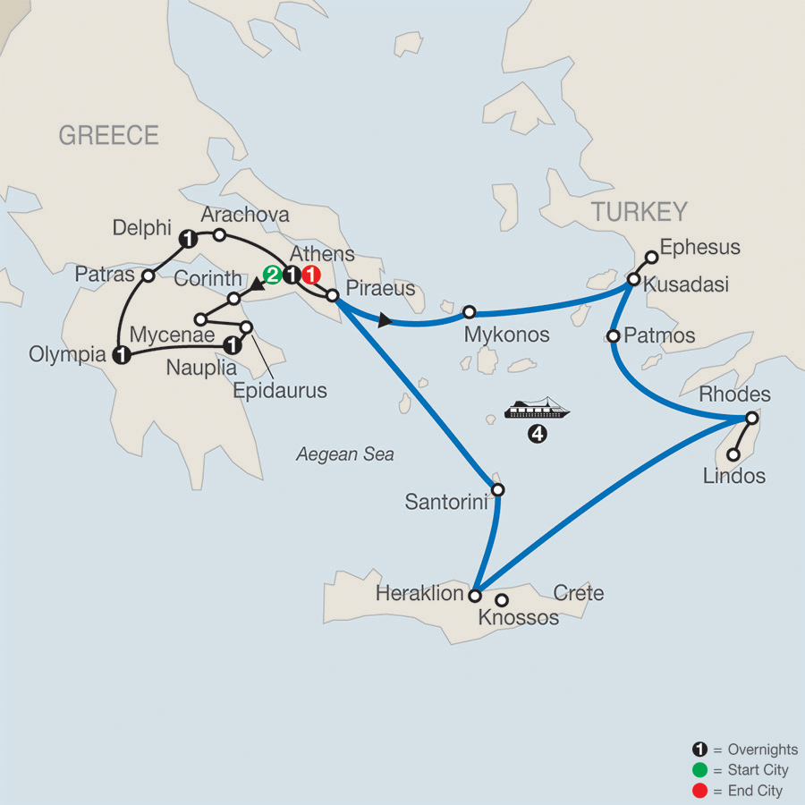 Greek Escape with 4-Night Iconic Aegean Cruise map