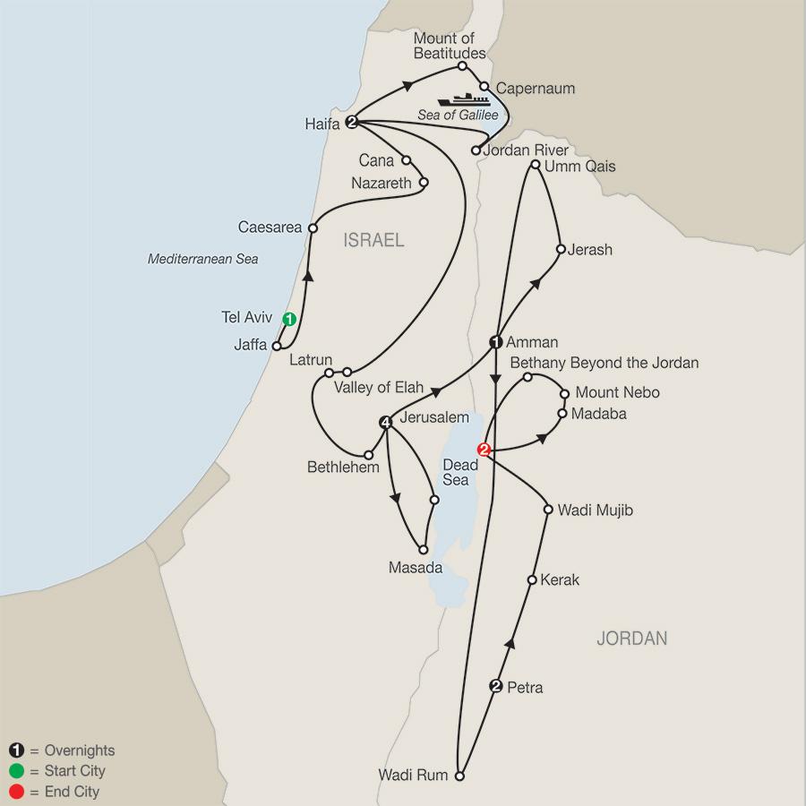 Israel Escape with Jordan map