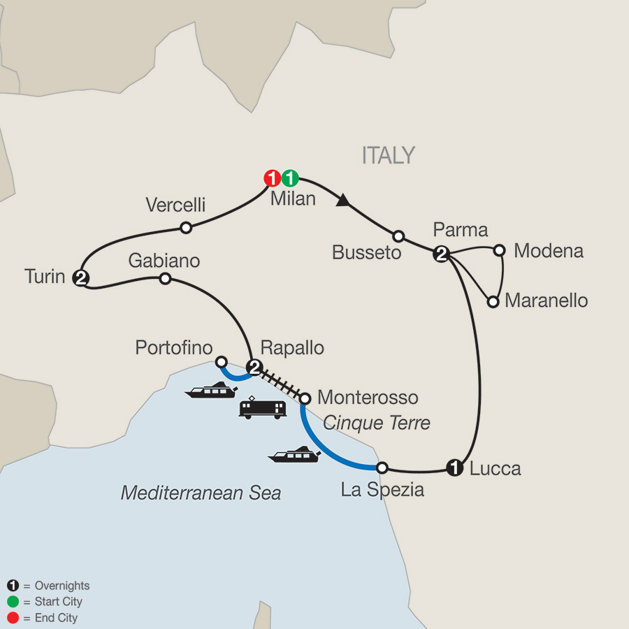 MAP Northern Italys Highlights Cinque Terre 2018