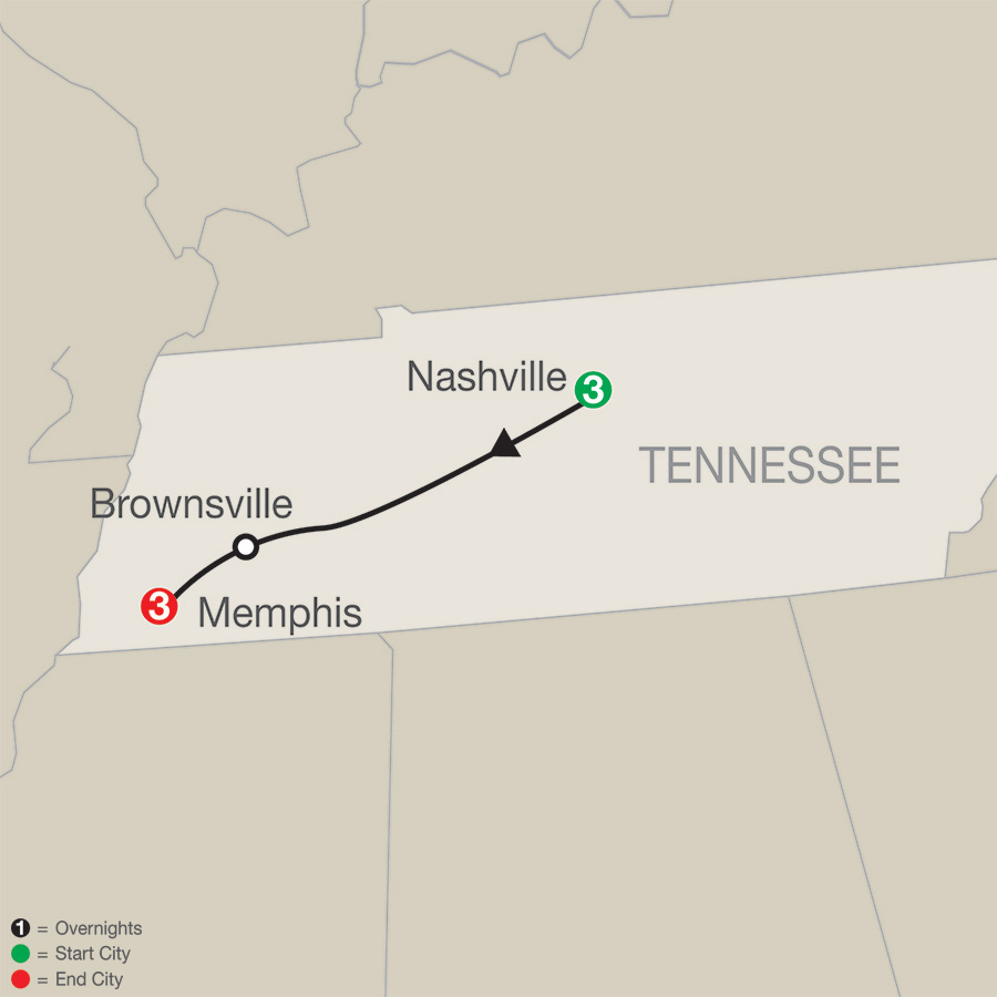 Music Cities: Nashville & Memphis map