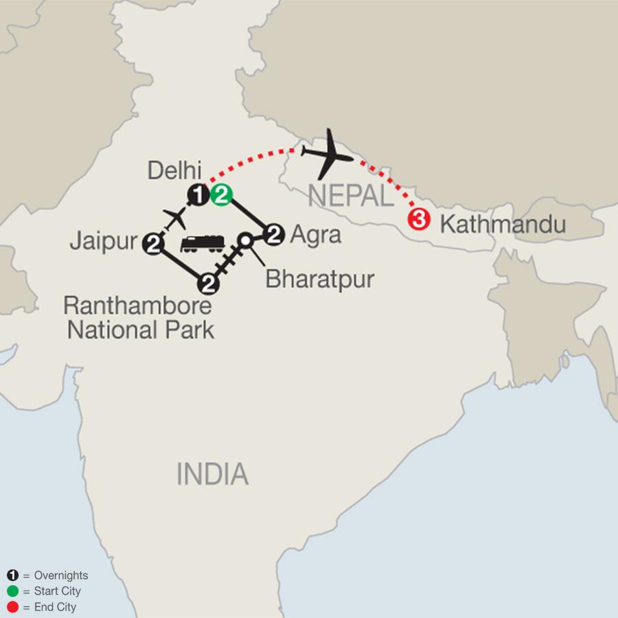 Icons of India: The Taj, Tigers & Beyond with Kathmandu map