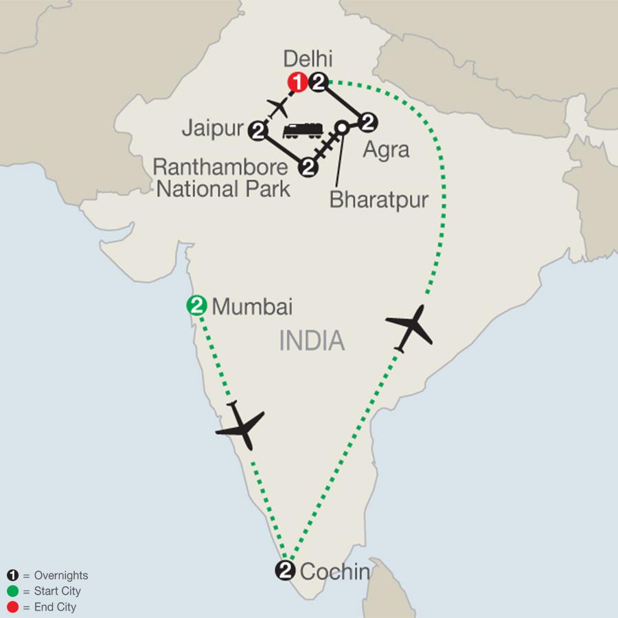 Icons of India: The Taj, Tigers & Beyond with Southern India map