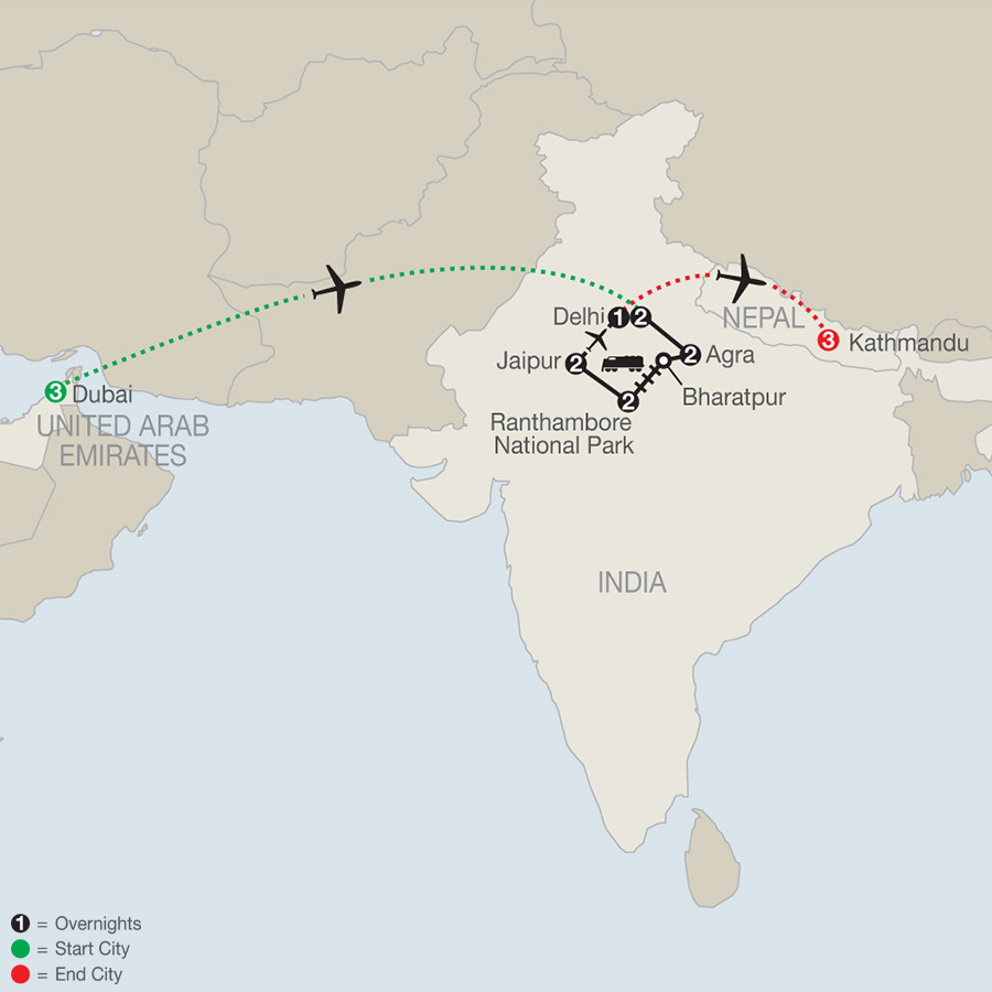 Icons of India: The Taj, Tigers & Beyond with Dubai & Kathmandu map