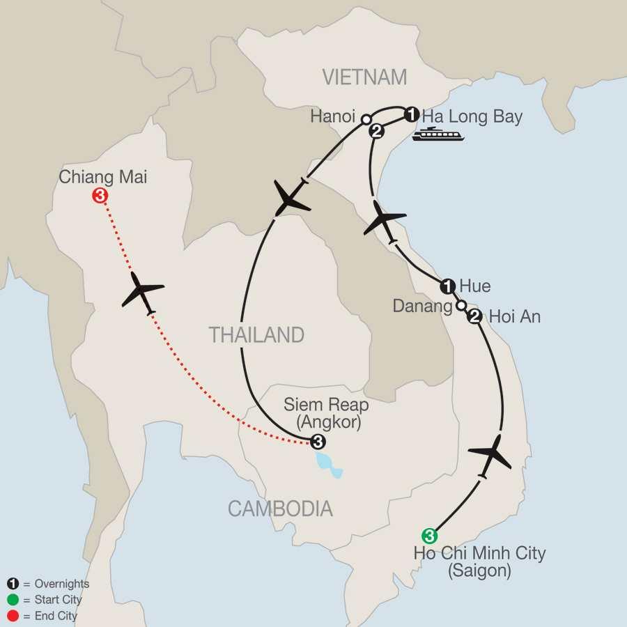 Exploring Vietnam & Cambodia with Chiang Mai map
