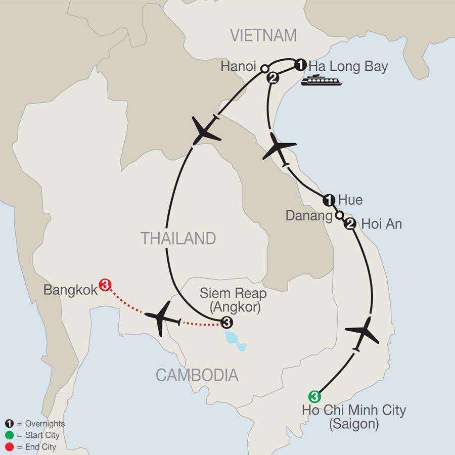 Exploring Vietnam & Cambodia with Bangkok map