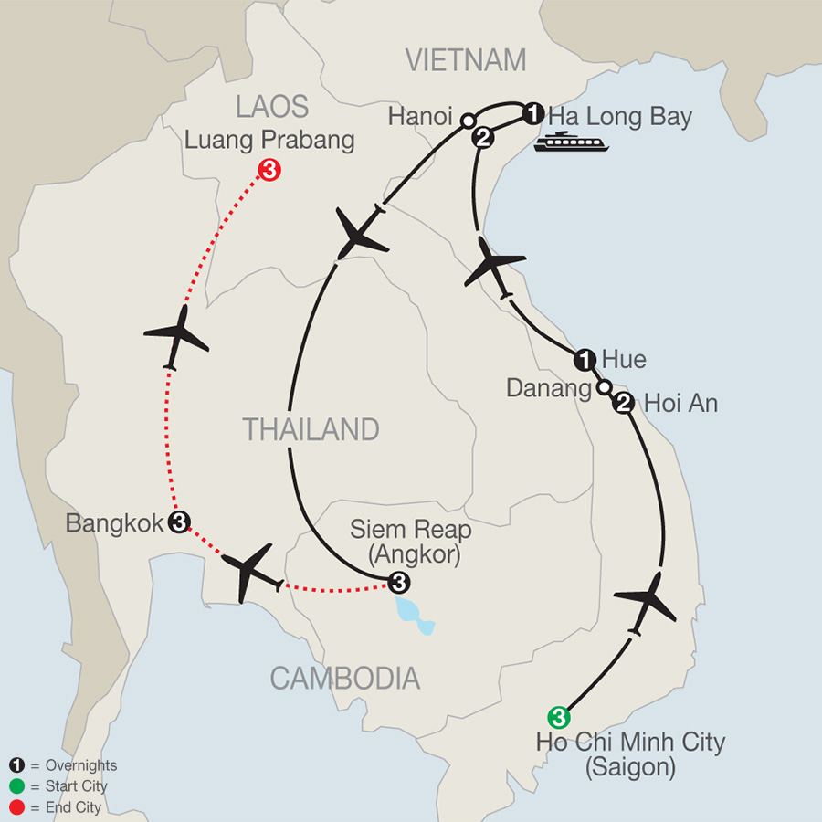 Exploring Vietnam & Cambodia with Bangkok & Luang Prabang map