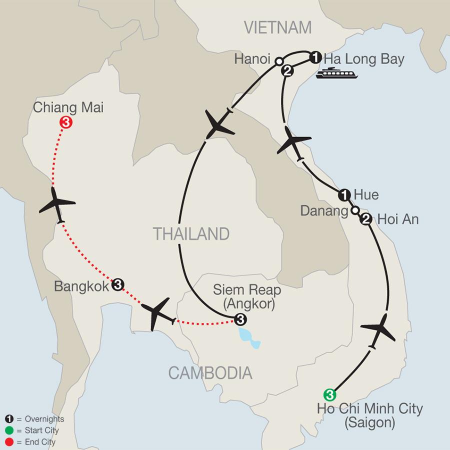 Exploring Vietnam & Cambodia with Bangkok & Chiang Mai map