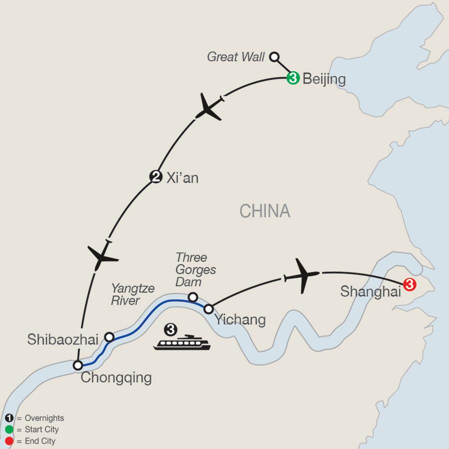 Classic China & the Yangtze River map